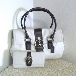 Coach White Brown Leather Bag Set.